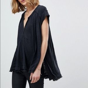 Free People Aster Henley Charcoal Gray